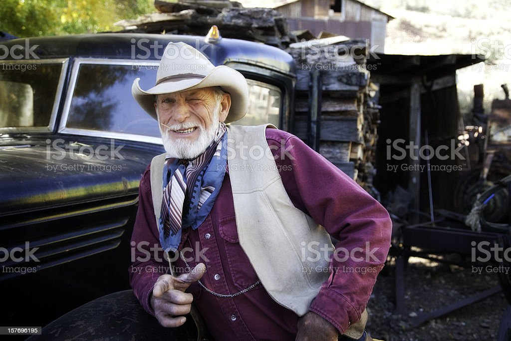 Handsome Cowboy Winking at You royalty-free stock photo