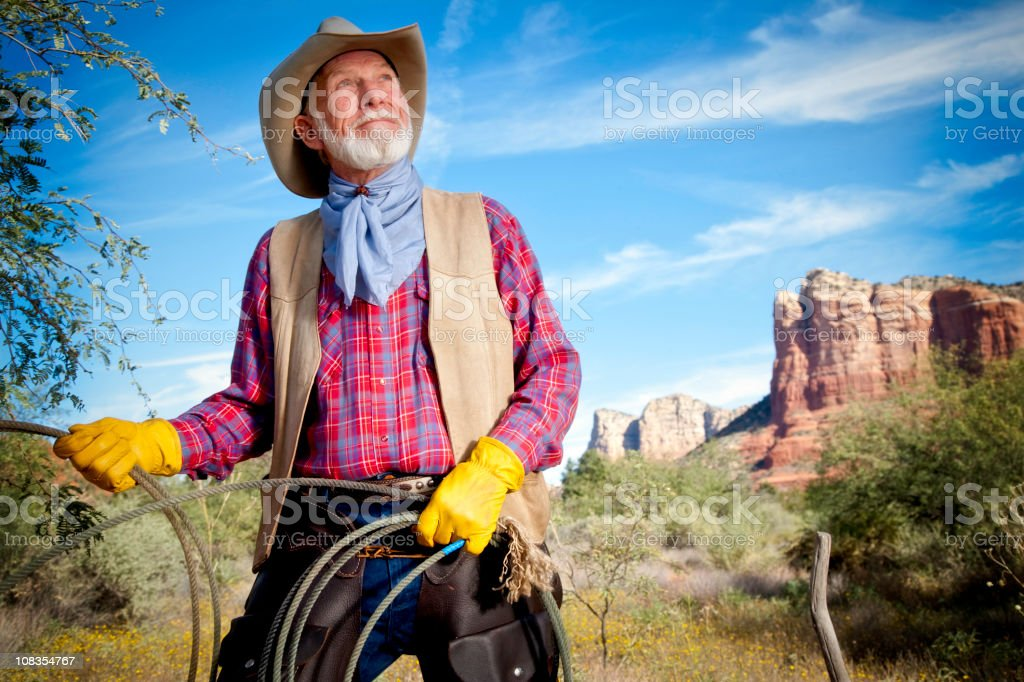 Handsome Cowboy with Lariat, Yellow Gloves and Blue Sky royalty-free stock photo