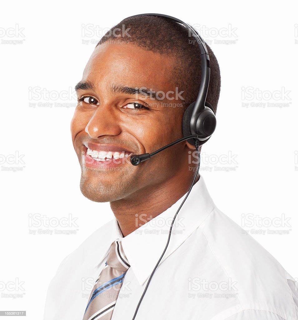 Handsome Customer Service Representative - Isolated royalty-free stock photo