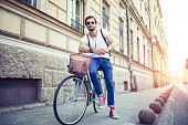 Handsome Cyclist posing outdoors