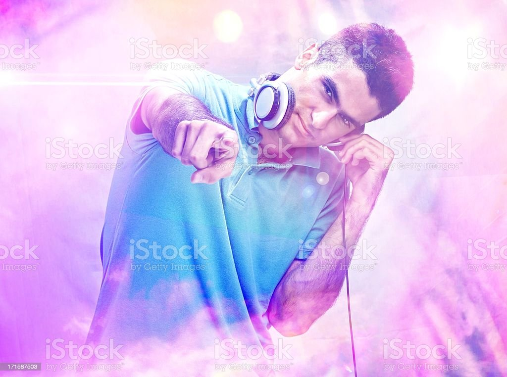 Handsome Dj Pointing Towards the Camera royalty-free stock photo