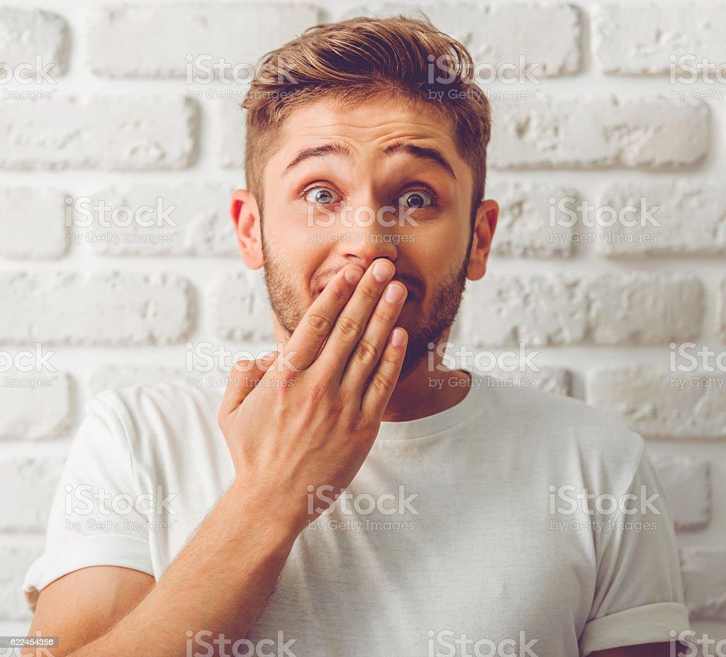 Handsome emotional guy stock photo