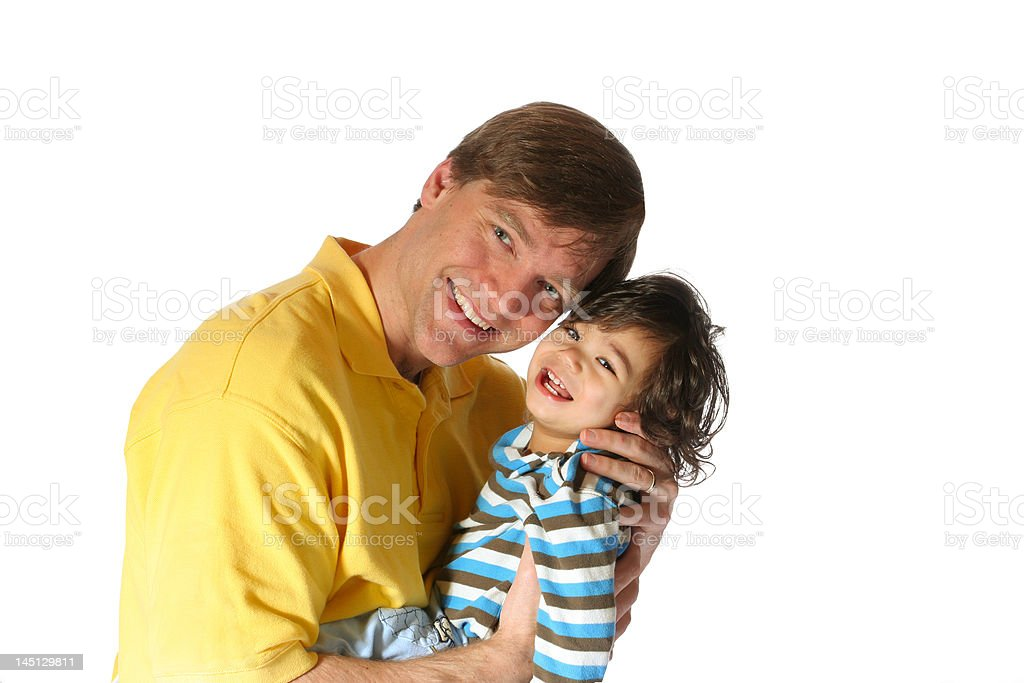 Handsome father holding his toddler son royalty-free stock photo