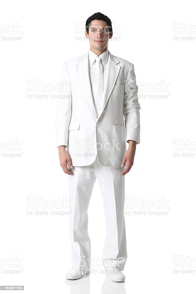Handsome groom man all white suit stock photo