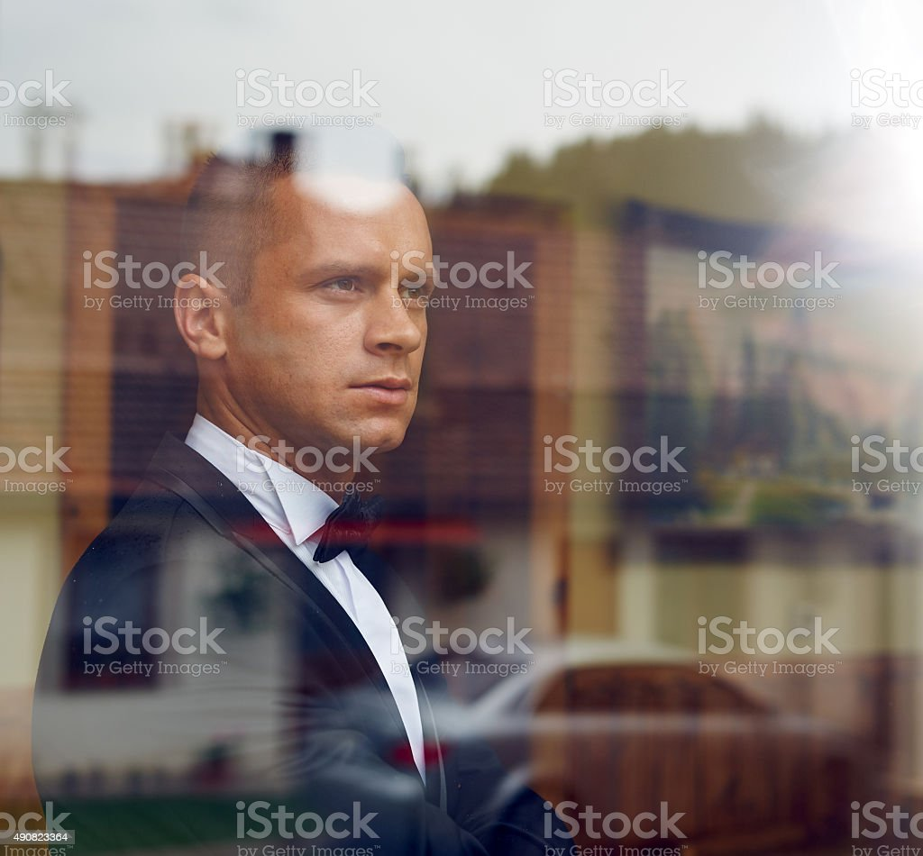 handsome groom stock photo