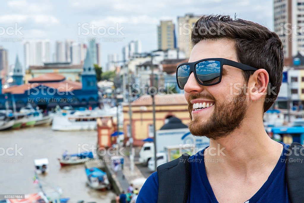 Handsome guy enjoying a beautiful day in Belem do Para stock photo