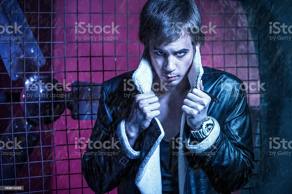 Handsome guy in leather jacket royalty-free stock photo