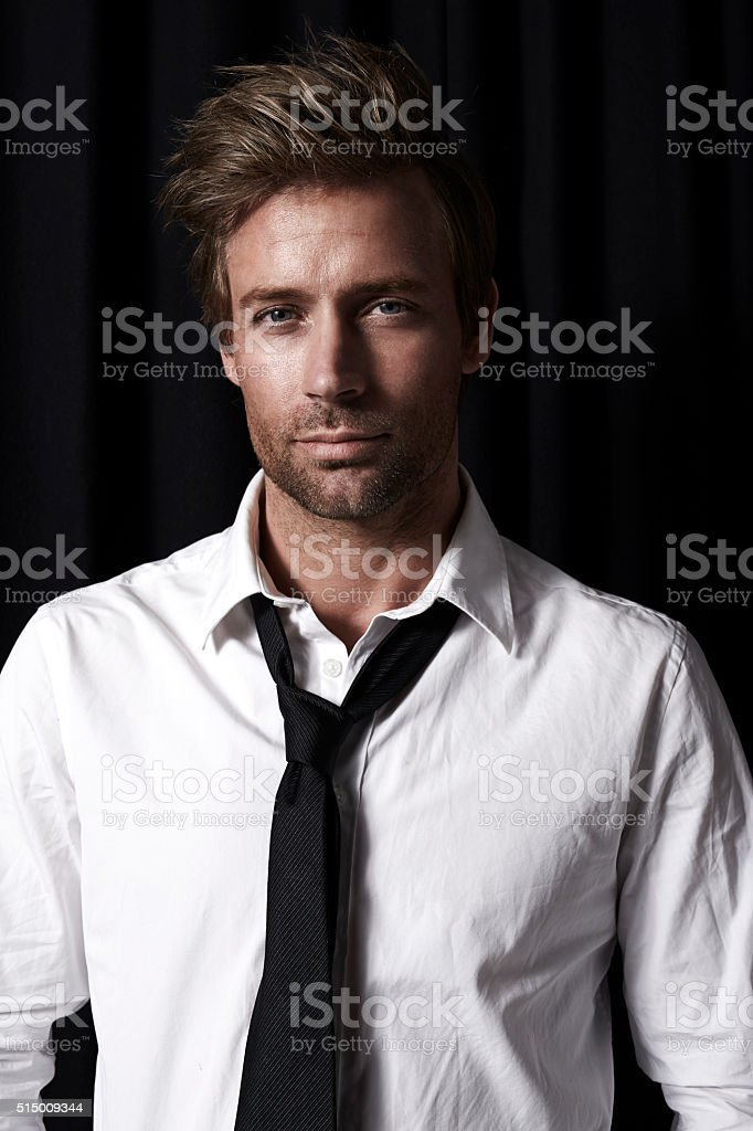 Handsome guy in shirt and tie stock photo