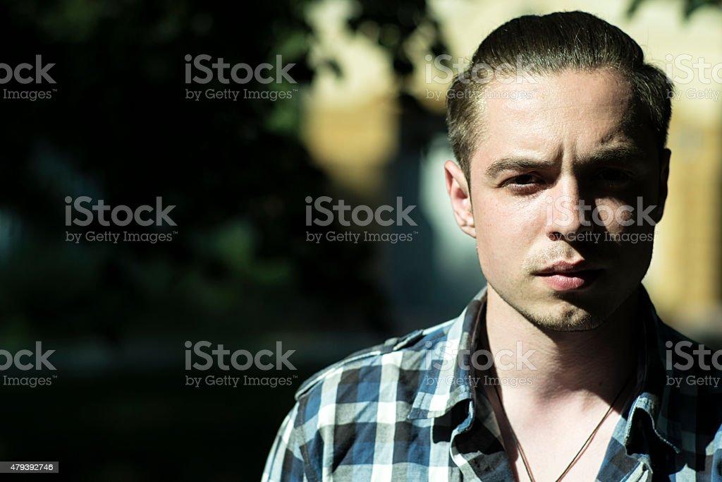 Handsome guy outdoor stock photo