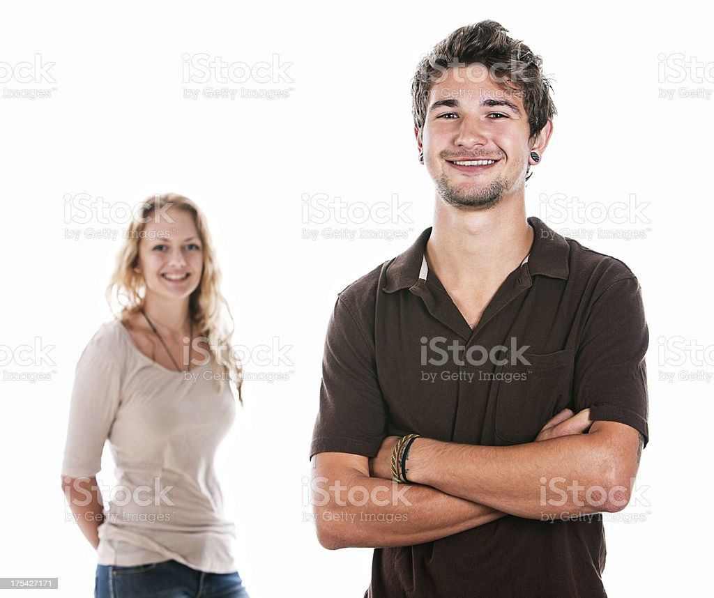 Handsome half-length couple smiling stock photo
