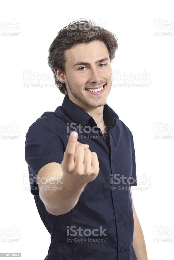 Handsome happy man beckoning inviting to come here stock photo