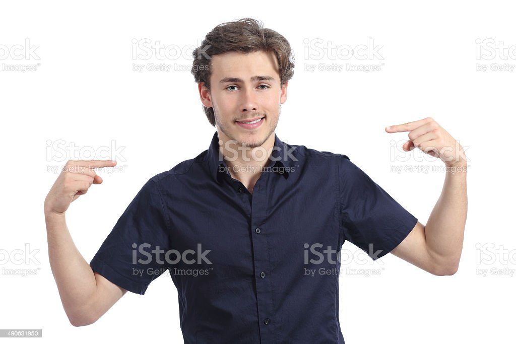 Handsome happy man pointing himself stock photo