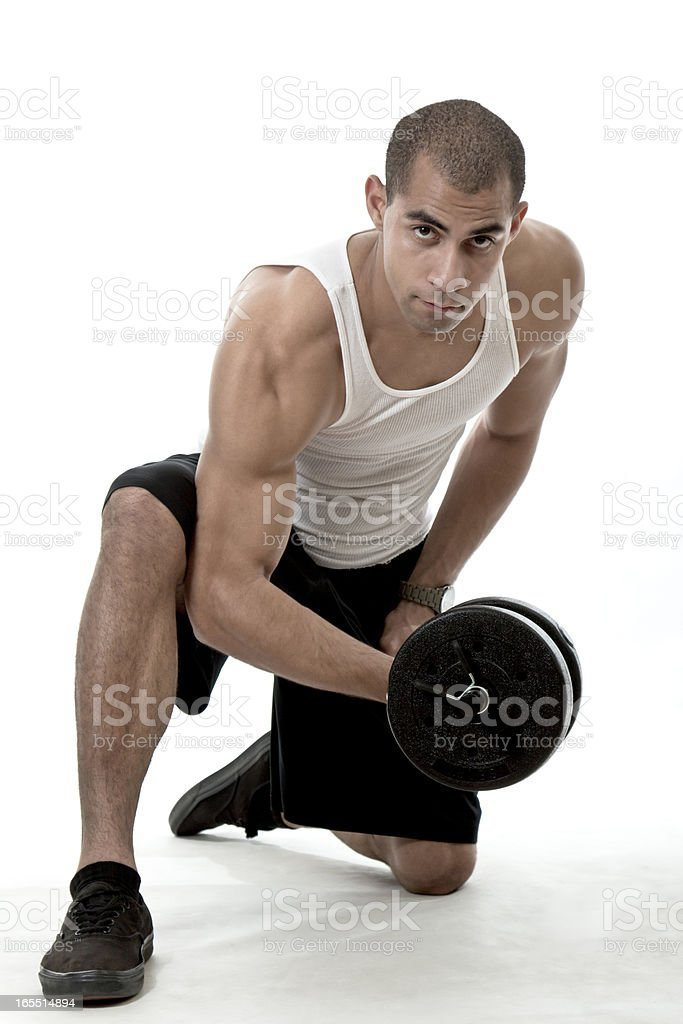 Handsome hispanic african american man working out royalty-free stock photo