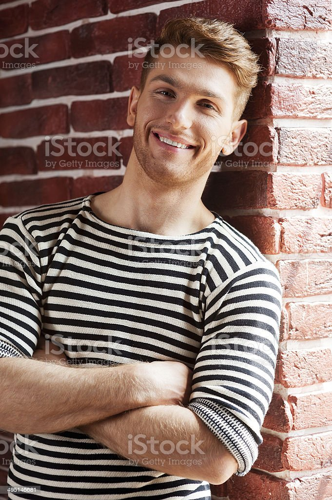 Handsome in striped shirt. stock photo