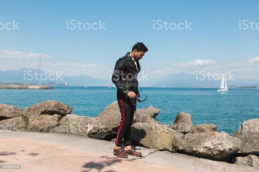 Handsome Indian man posing stock photo