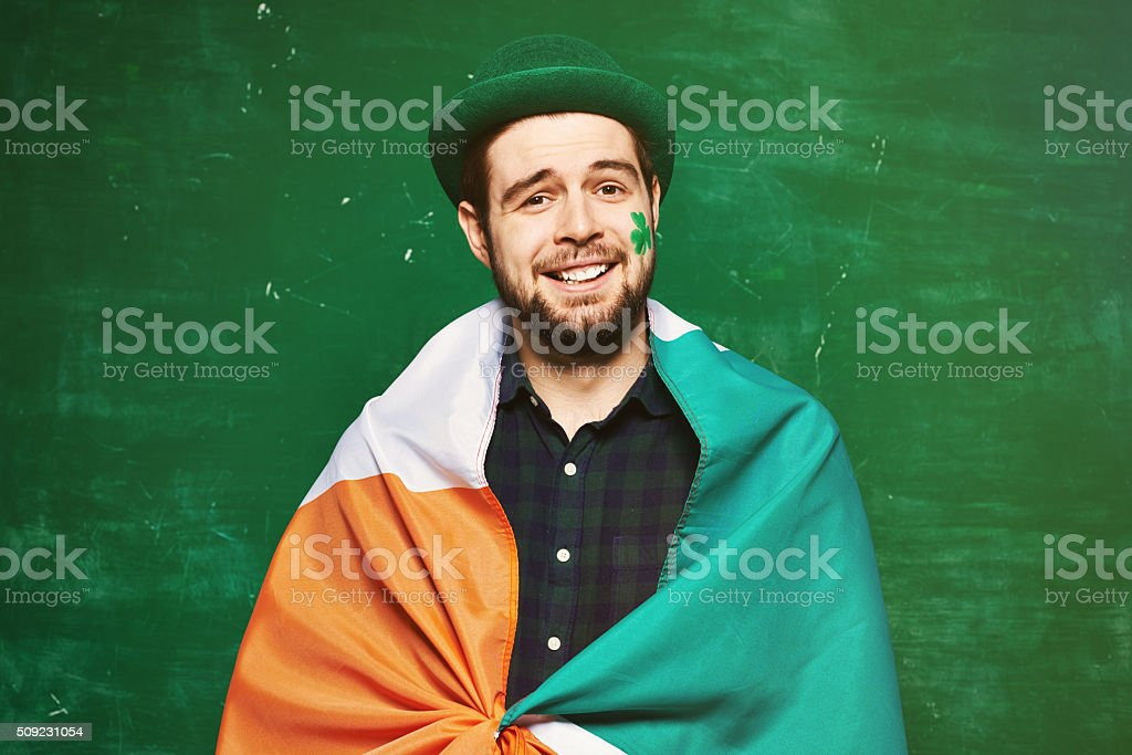 Handsome Irish patriot stock photo
