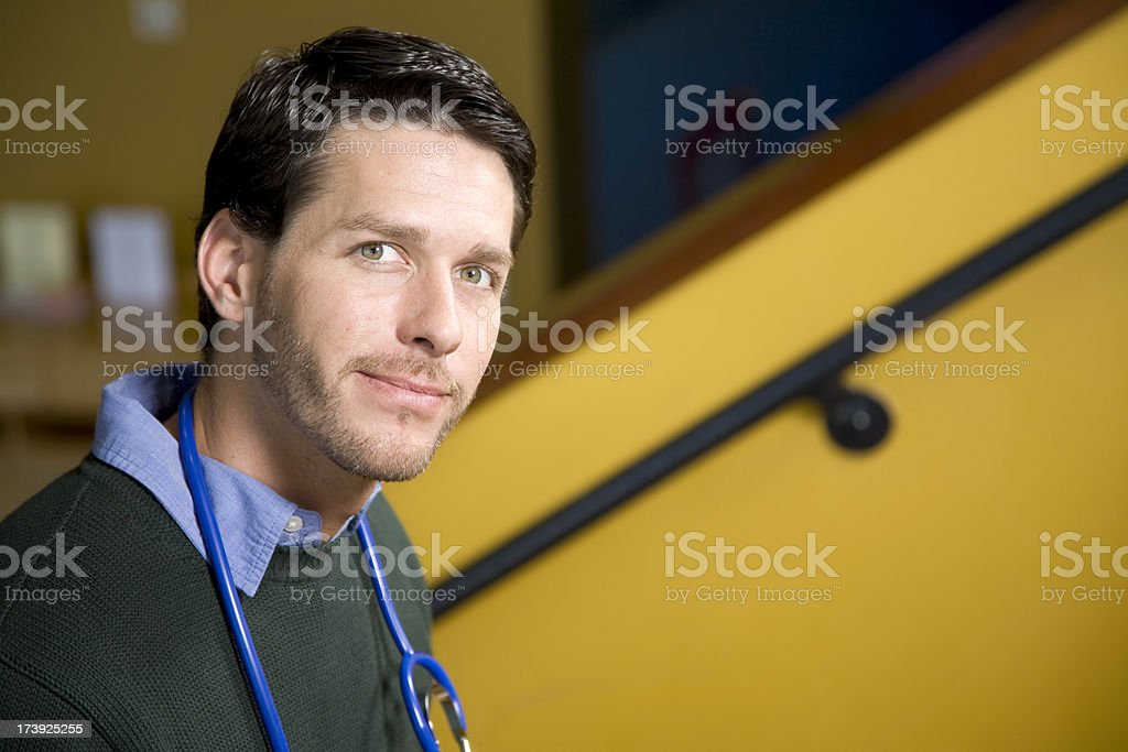 Handsome Male Doctor with Copy Space royalty-free stock photo