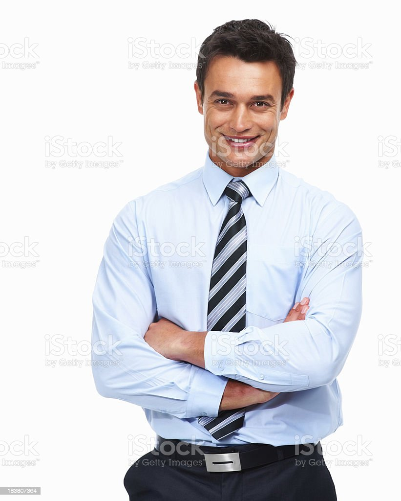 Handsome male executive with arms folded royalty-free stock photo