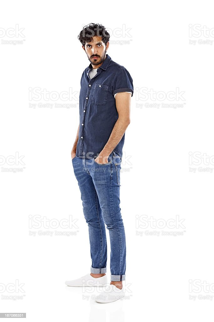 Handsome male fashion model posing on white royalty-free stock photo