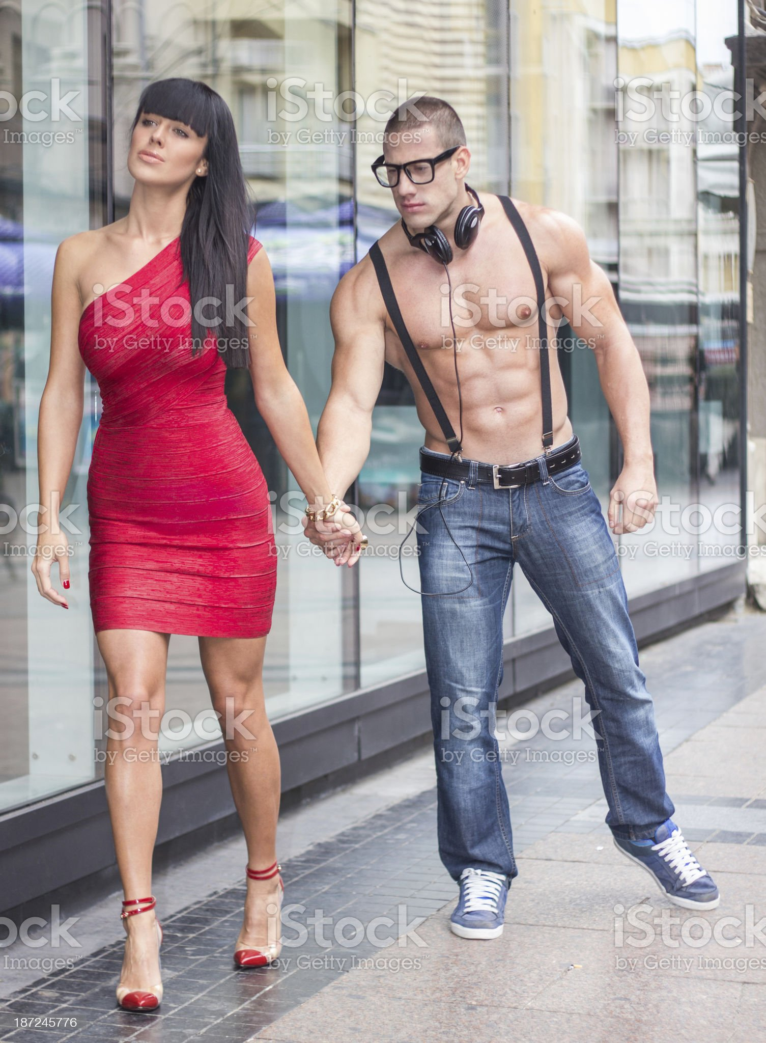 Handsome male holding beauty hand royalty-free stock photo