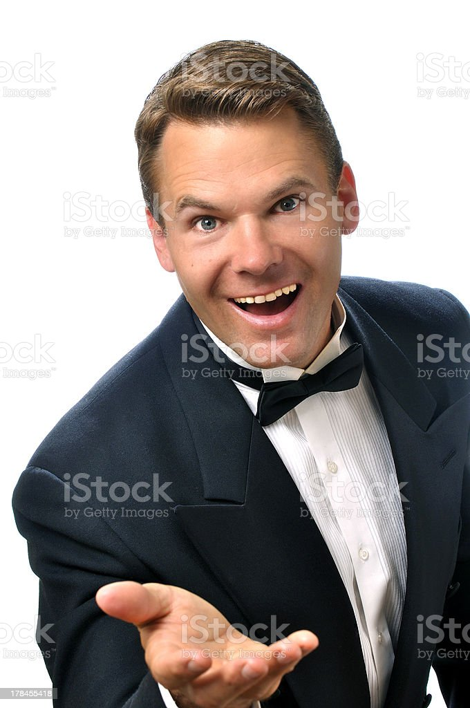 Handsome male host stock photo