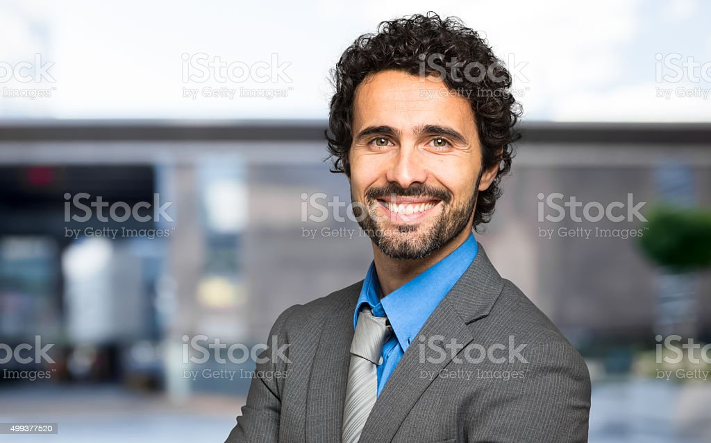 Handsome male manager portrait stock photo