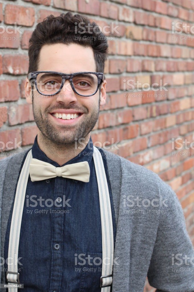 Handsome male with glasses portrait stock photo