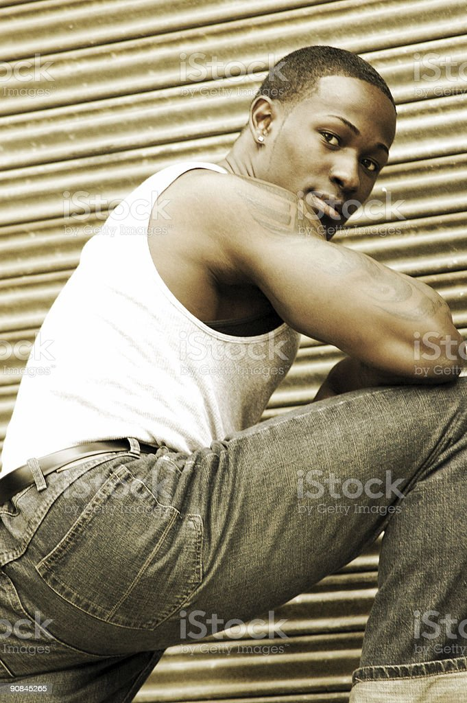 handsome male with tattoos royalty-free stock photo
