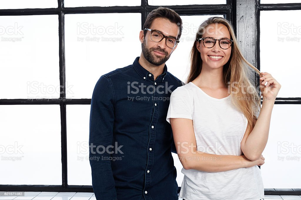 Handsome man and beautiful woman in glasses, portrait stock photo