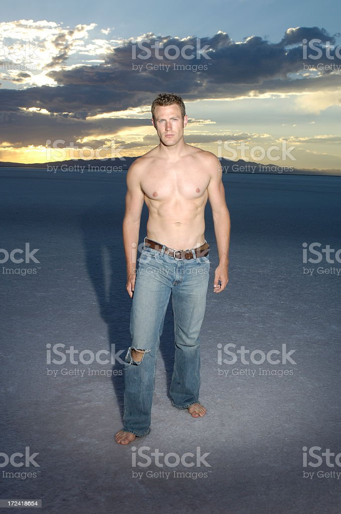 Handsome man at sunset royalty-free stock photo