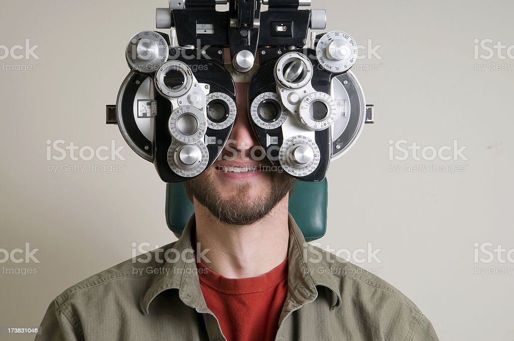 Handsome Man at the Eye Doctor royalty-free stock photo