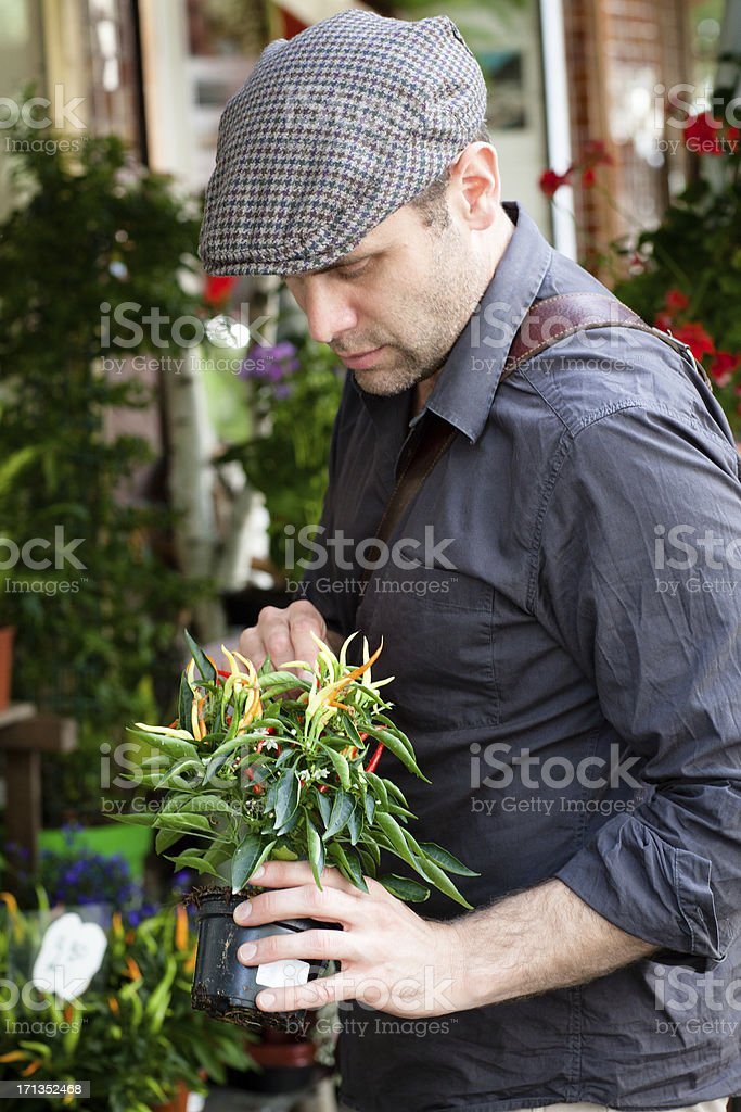 handsome man buying flowers, looking down stock photo