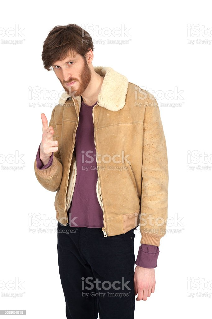 Handsome man doing different expressions in different sets of clothes: stock photo
