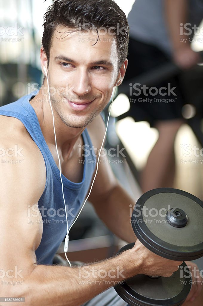handsome man doing exercise royalty-free stock photo