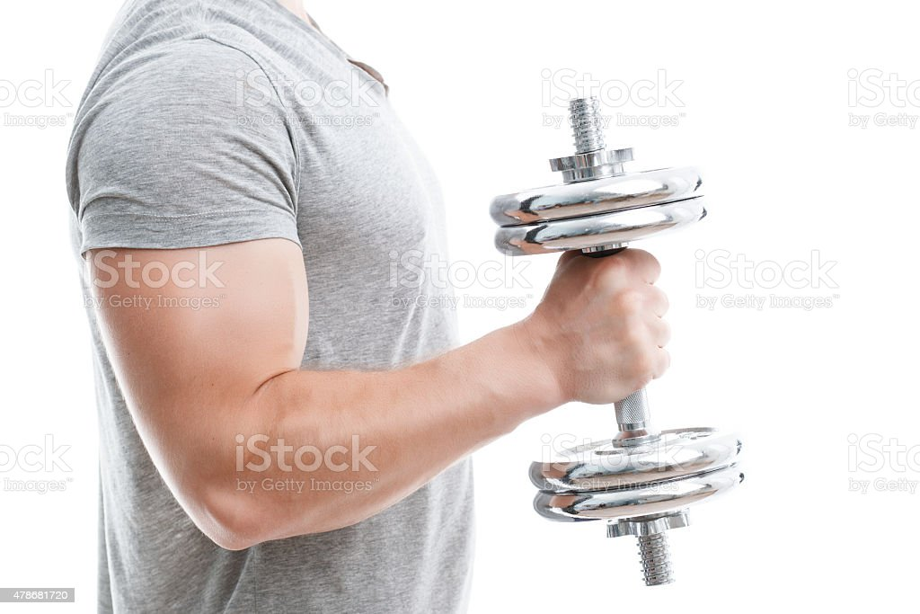 Handsome man during workout stock photo