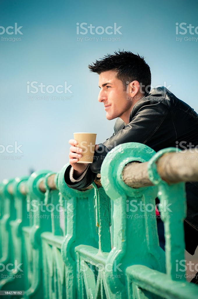 Handsome man having coffee royalty-free stock photo