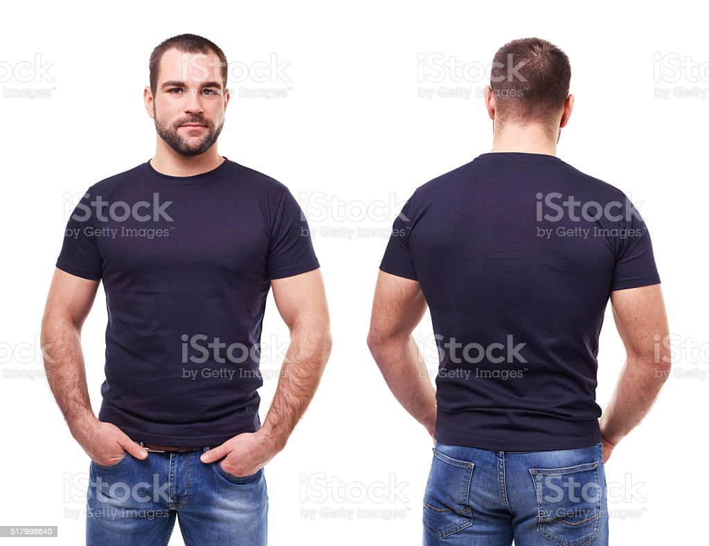 Handsome man in black t-shirt stock photo