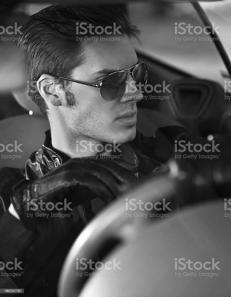 Handsome man in car stock photo