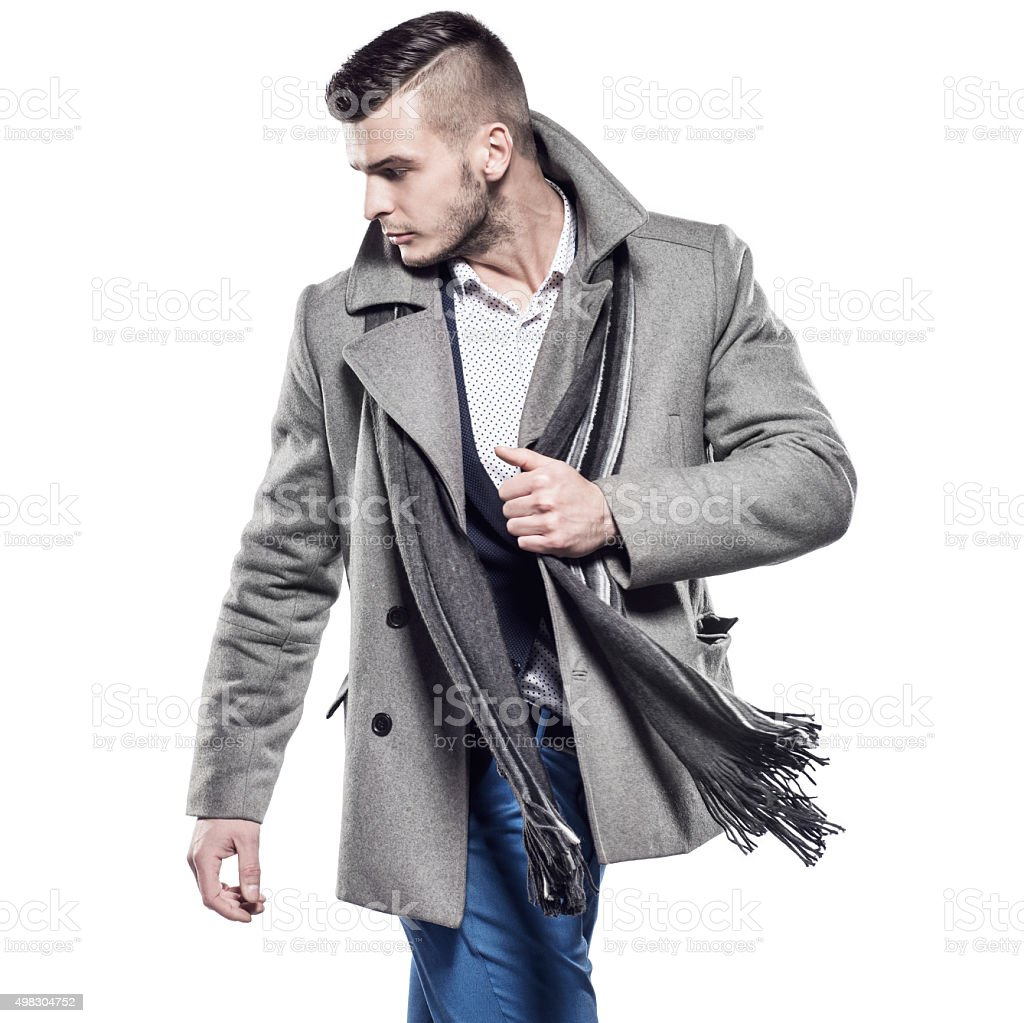 Handsome man in clothes for autumn-winter stock photo