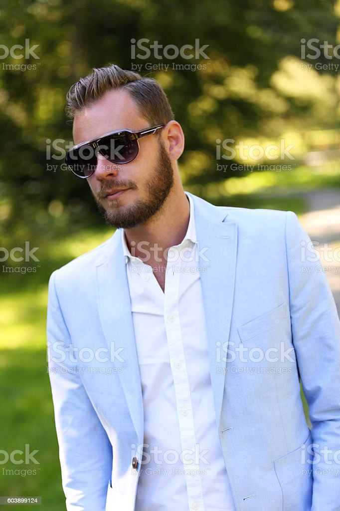 Handsome man in glasses stock photo