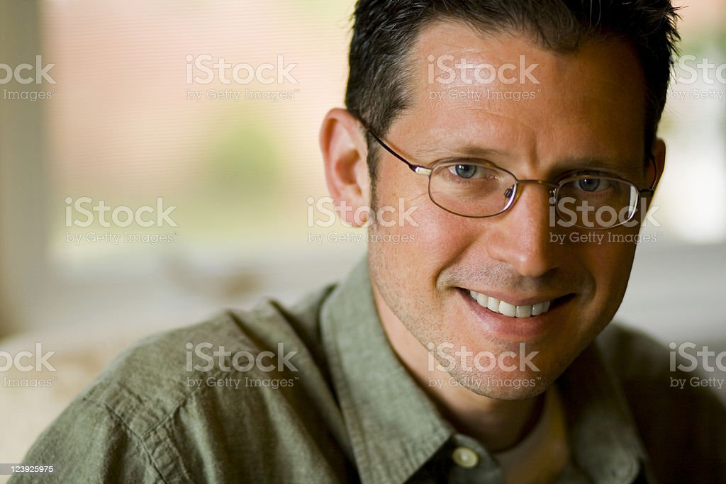 Handsome Man in Green stock photo