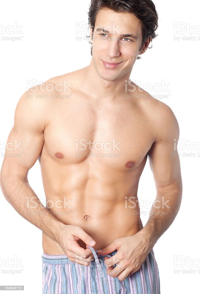 handsome man in pajamas royalty-free stock photo