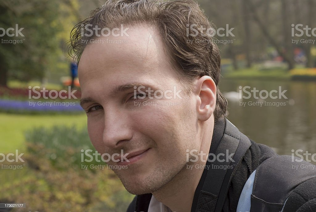 Handsome Man in Park stock photo