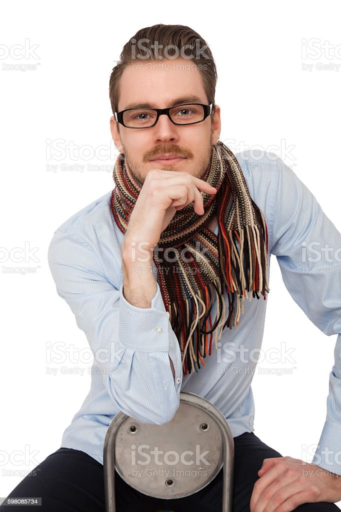 Handsome man in shirt and glasses stock photo