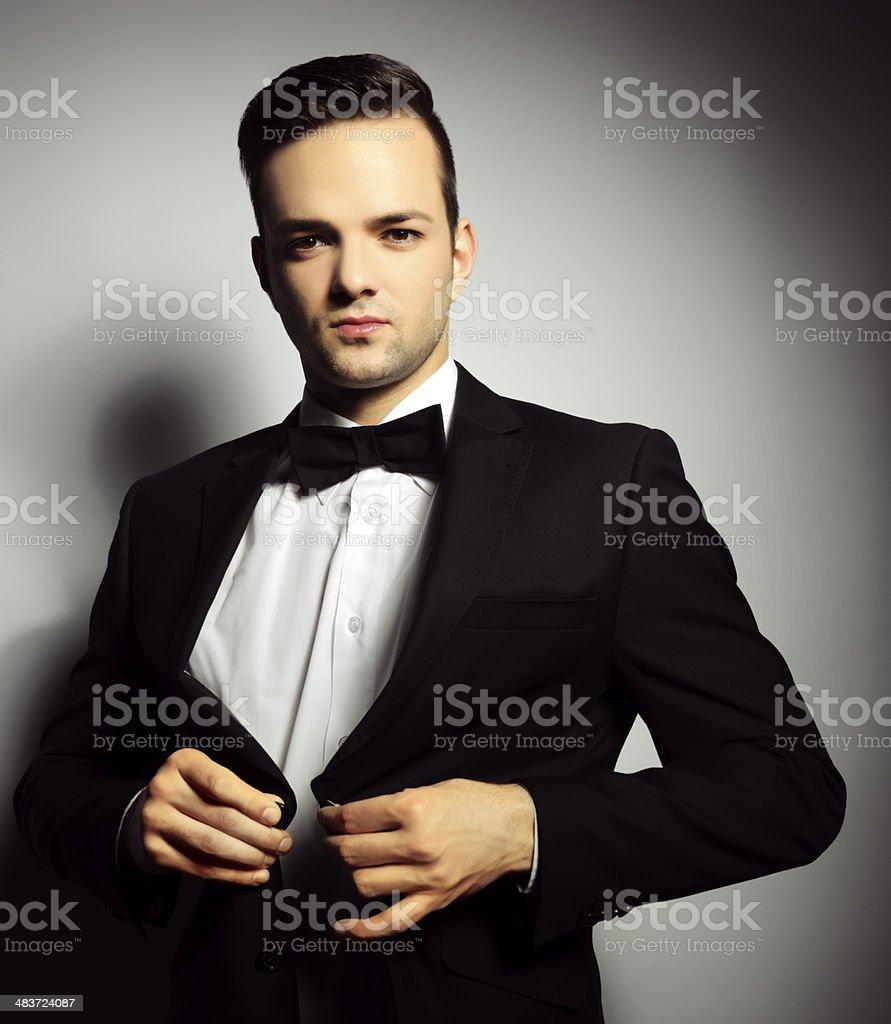 handsome man in suit stock photo