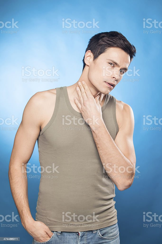 Handsome man in tank top stock photo