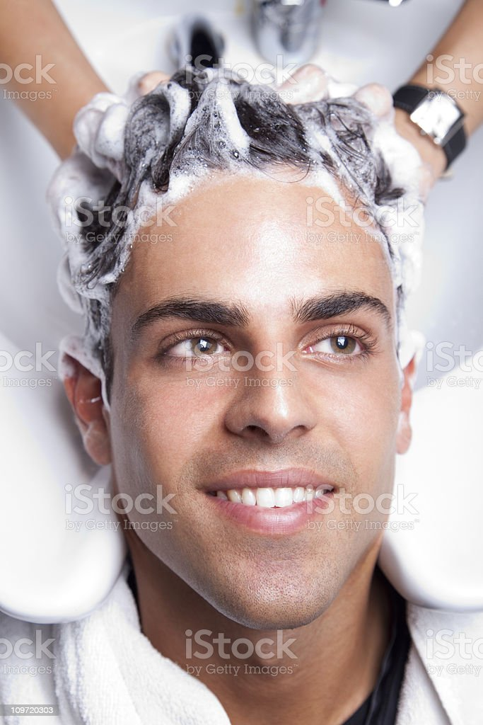 Handsome man in the hair salon royalty-free stock photo