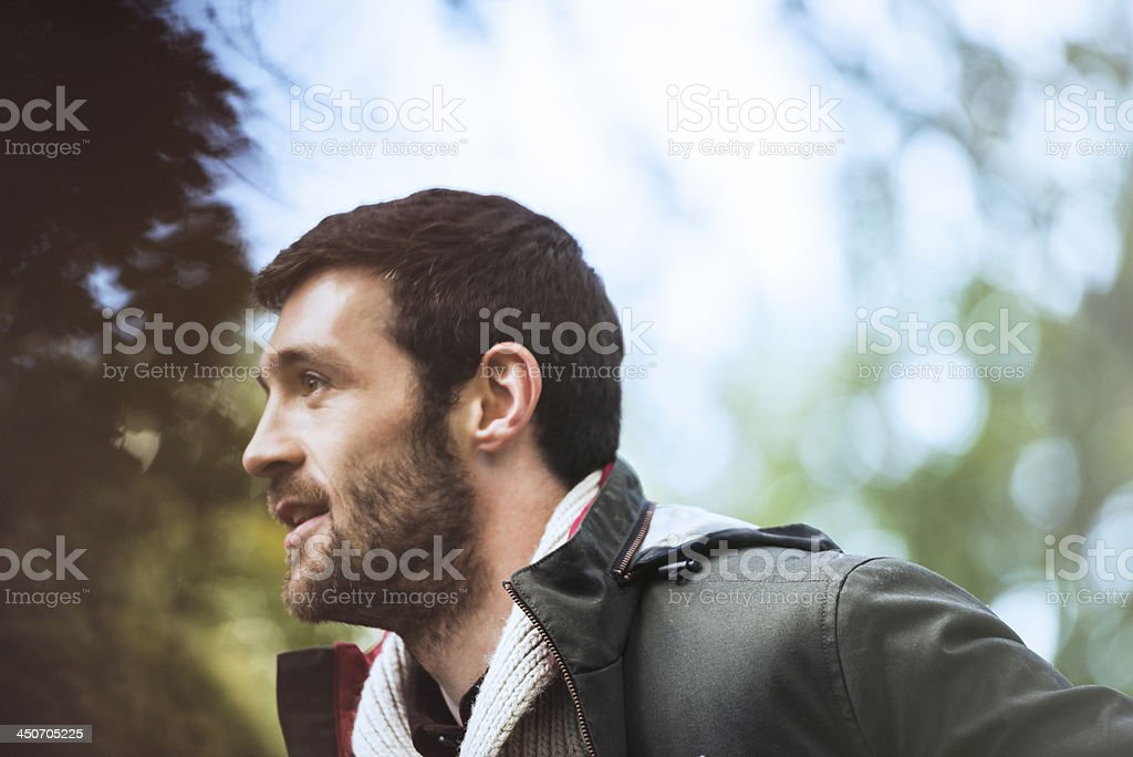 Handsome man in warm clothing. stock photo