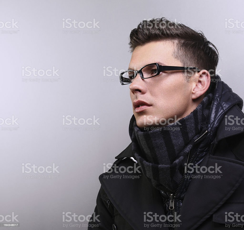 Handsome man inwinther clothes royalty-free stock photo