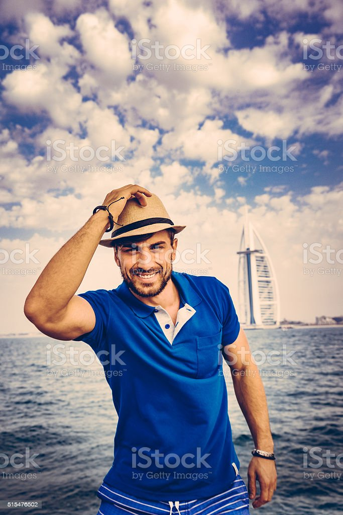 Handsome Man on a Yacht stock photo